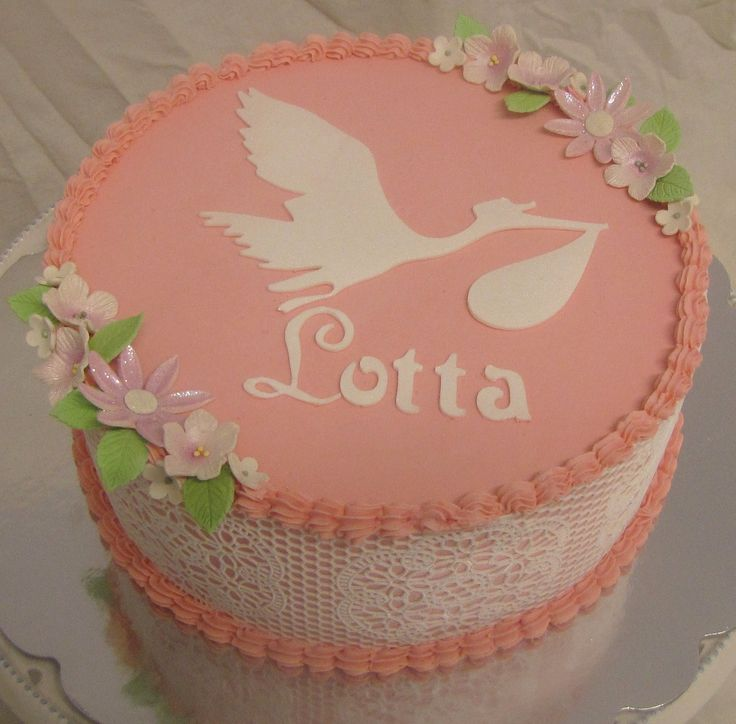 stork cake - sugarveil sides and MMF decorations on this lingonberry butterscotch christening cake