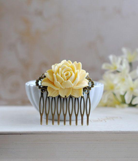 Buttercup Cream Yellow Rose Flower Hair Comb. Wedding by LeChaim, $15.50