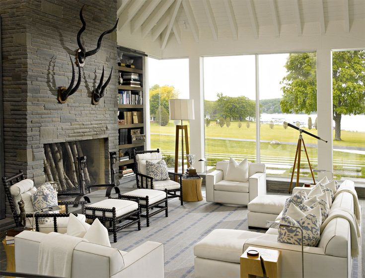 Great Lake House   Living Room   Suzanne Lovell Inc.   Like The Couch Facing The  Fireplace With Two Loungers | Living | Pinterest | Lake Houses, Lakes And  Houses