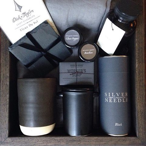 """Teak & Twine on Instagram: """"It's the black-on-black Audi A8 version of a gift box- housewarming gone ultra modern with a dream team: @nordengoods @makeandstow @hudsonmadeny @sundaysuppers @cloisterhoney @dicktaylorchocolate @coast_destin"""""""