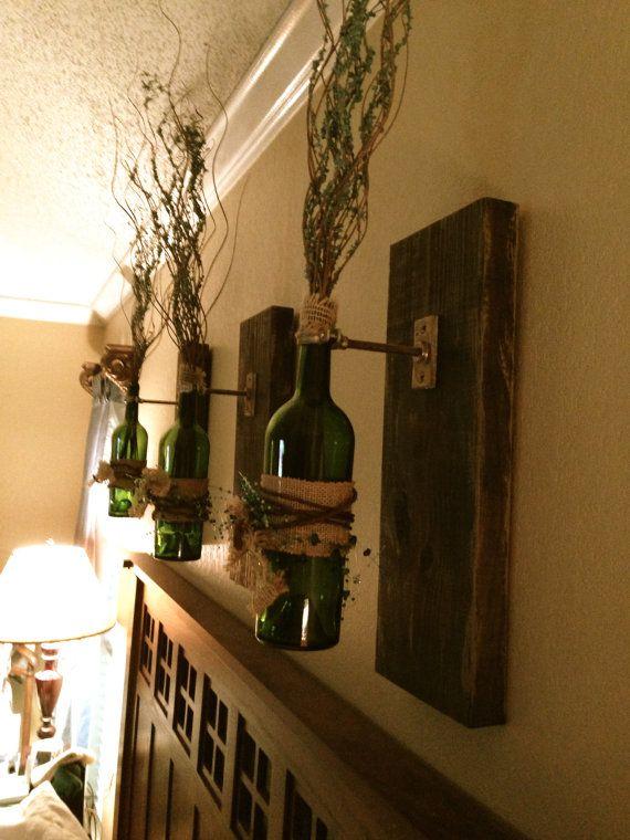 Wine Bottle wall sconce, wall hanging, decorative wine bottle on Etsy, $95.00