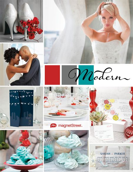 A turquoise and red color palette featuring wedding stationery, decor, and other ideas for your contemporary wedding theme.