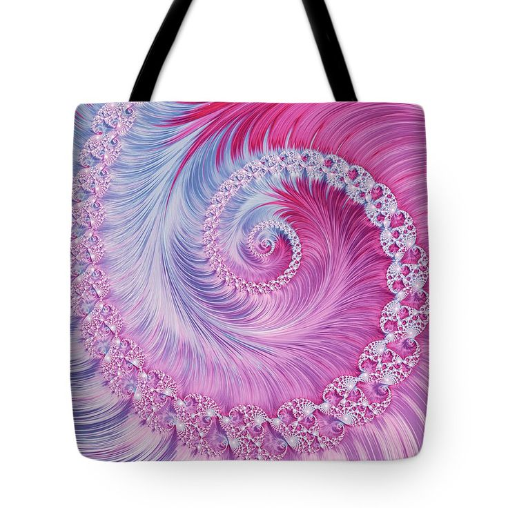 Abstract Tote Bag featuring the digital art Crystal Spiral Abstract by Oksana Ariskina Blue and Pink abstract circle swirl fractal Brilliant illustration. Graphic abstract background. #OksanaAriskina  Available as poster, greeting card, phone case, throw pillow, framed fine art print, metal, acrylic or canvas print with my fine art photography online: www.oksana-ariskina.pixels.com
