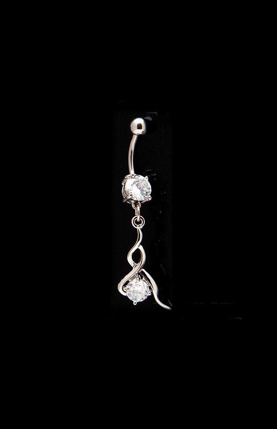 Rhinestone dangling belly button ring by SouthernBelJewelry