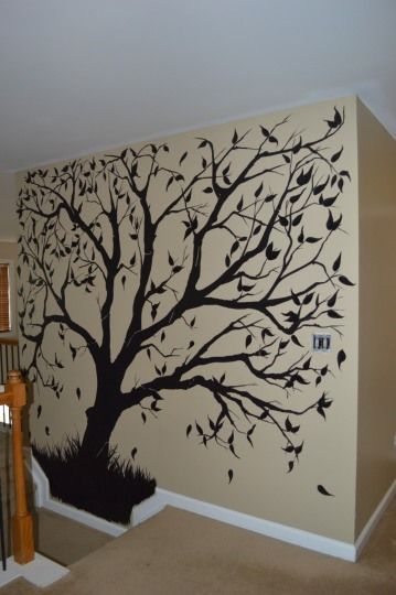 "Do you have a wall at the top of the stairwell that you don't know what to do with? What about a hand painted ""Family Tree Mural""? Once the tree is painted (and completely dry), place framed family photographs on the wall. It'll make the wall a focal point within the home while creating a very personal piece of art for you and your family!"