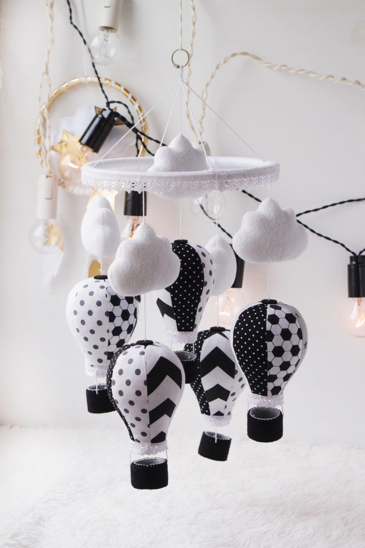 Hot Air Balloon Mobile Baby Mobile Black and white mobile Cloud mobile by MOMisGLAD on Etsy https://www.etsy.com/listing/490352001/hot-air-balloon-mobile-baby-mobile-black