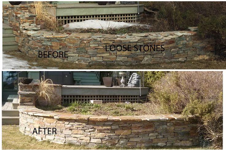 Edmonton Alberta Natural Stone Repair Retaining wall  By: My Custom PRO