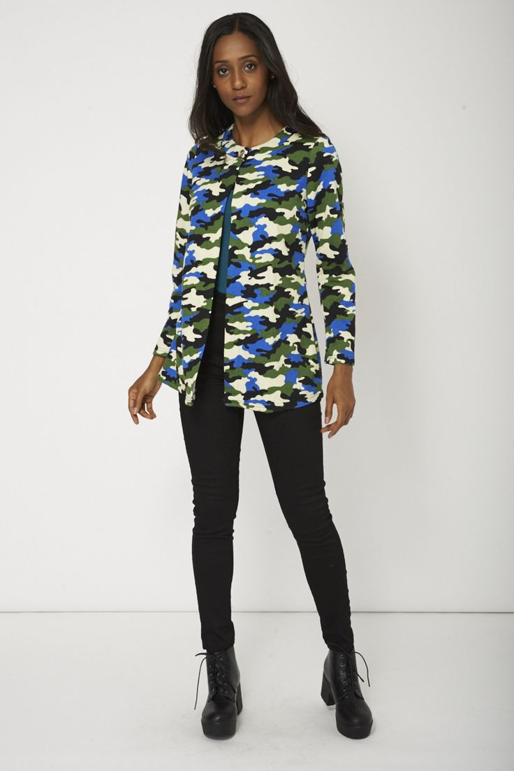 Army Print Jacket With Single Button Jacket Limited Stock only for £7.99. Visit Essence Clothing to check out more items on sale.