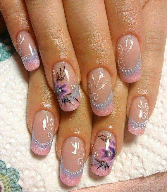 Clear with soft pink tips n floral