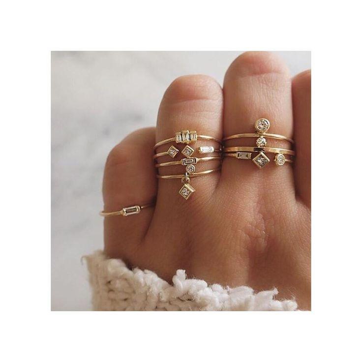 14k 3 stepped baguette diamond ring