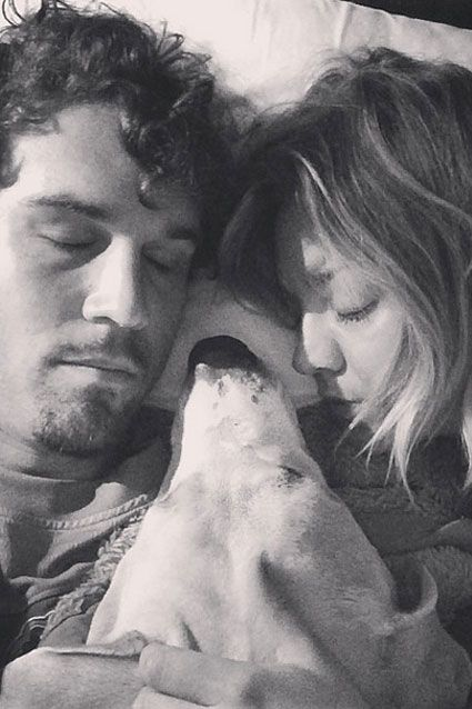 Newlyweds Kaley Cuoco and Ryan Sweeting are all tuckered out in this pic.