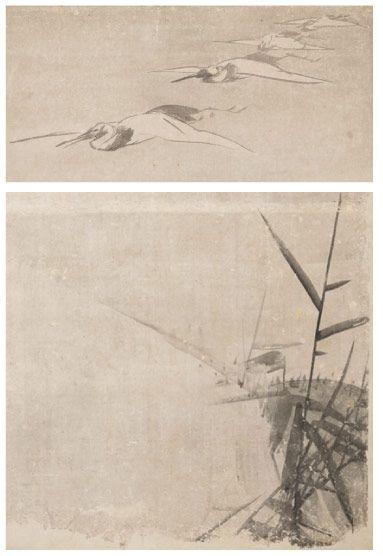 串本応挙芦雪館 花鳥画:長沢芦雪筆:紙本墨画「群鶴図」