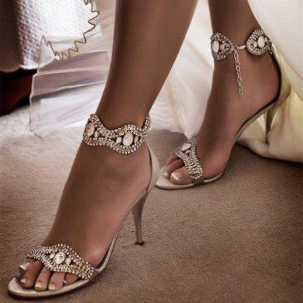 Fsj Wedding Shoes Evening Pearl Dresses Shoes Champagne Open Toe