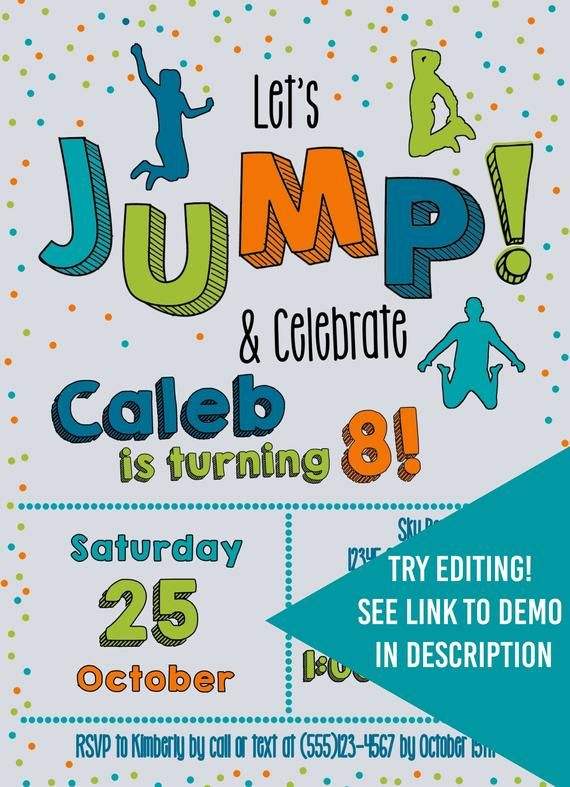 Trampoline D2 Personalised for children Birthday Party/'s Invitations Card