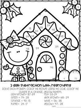 3 Nbt A 2 2 Digit Addition And Subtraction Color By Number Christmas Themed Christmas Cards Drawing Baby Art Crafts Christmas Coloring Pages