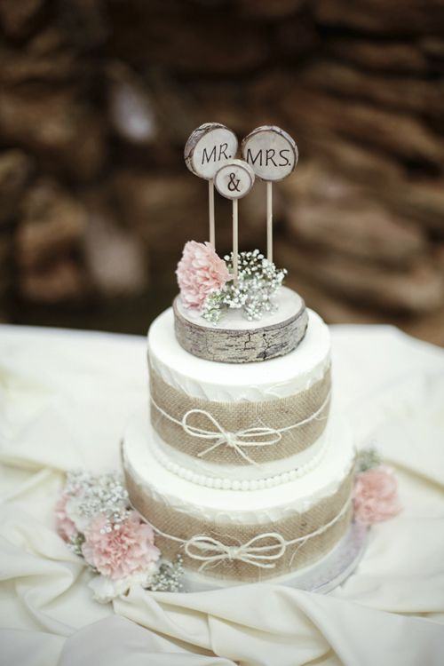 Rustic Two Tier Wedding Cake with Burlap