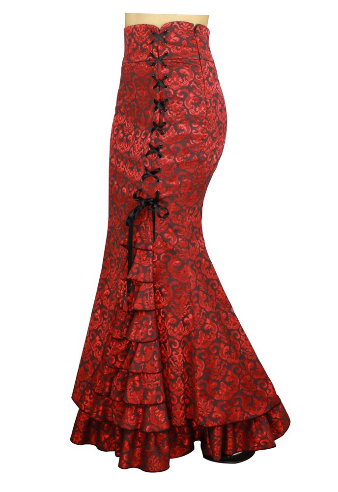 Fishtail Ruffles Skirt by Patricia Sipes Alterd by Amber Middaugh $37.77 (Plus size 44.07)-when you save 37% with coupon code: AMBER37 #Victorian #Goth #Steampunk