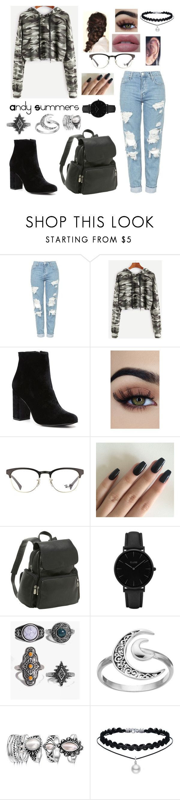 """""""Andy Summers"""" by gissell-nunez ❤ liked on Polyvore featuring Topshop, Witchery, Disney, Ray-Ban, Le Donne, CLUSE, Boohoo and Primrose"""