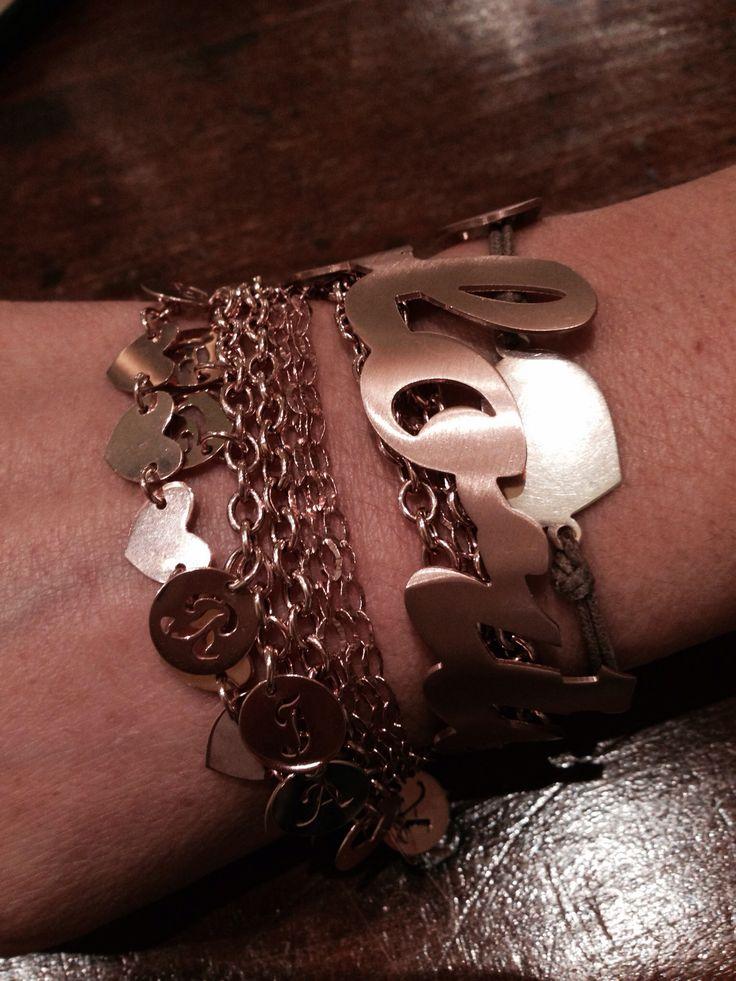 Braccialetti argento placati oro rosa personalizzati