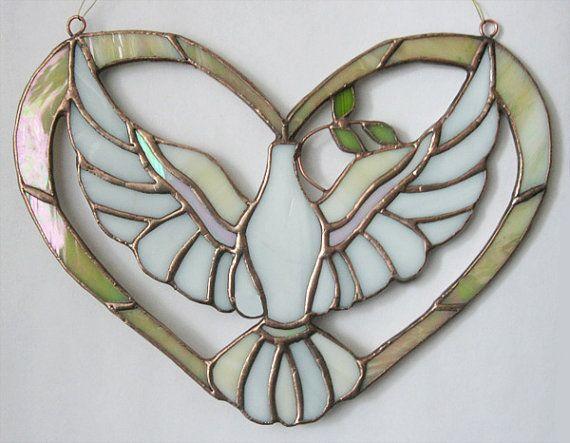 Glass souvenir White dove Pigeon Dove in the gold by MyVitraz