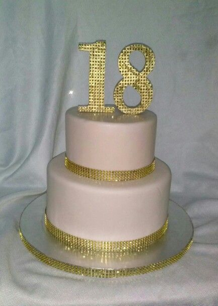 18 th birthday gold and off pink cake