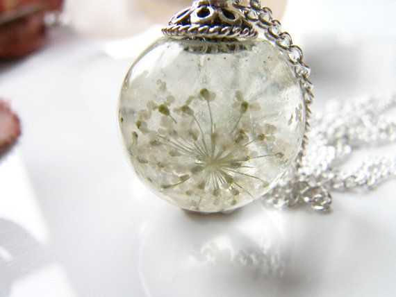 Queen Annes Lace Flower Resin Orb Sphere Necklace, Snowflake, Eco Friendly, Resin Globe Necklace