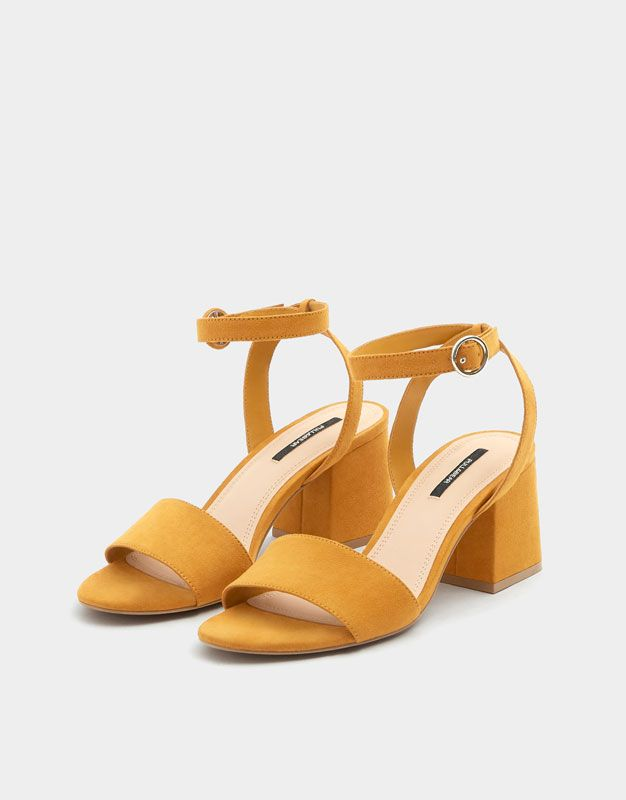 c4ead80e6 Mustard yellow mid-heel sandals with ankle strap - PULL BEAR ...