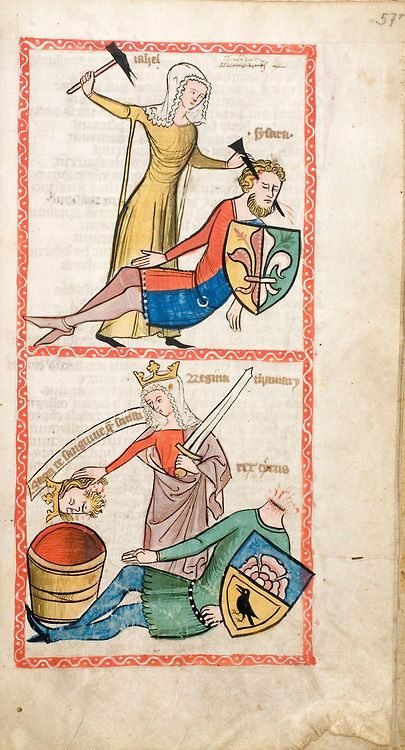 Pages from the Speculum Humanae Salvationis, Westphalia or Köln, Jael and Sisera