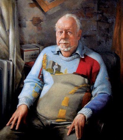 Churcher, Peter - Jeffrey Smart - Realism - Oil on canvas - Portrait.  His Portrait of Jeffrey Smart was a finalist in the 2005 Archibald Prize.