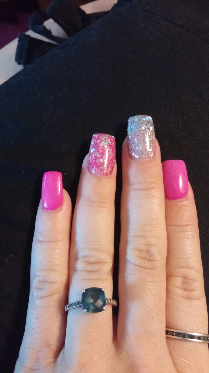 Pink for summer! Has to go girly with some pretty pink and silver and pink glitter acrylic this time! Love it!