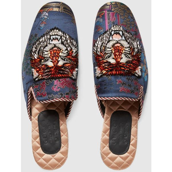 Gucci Jacquard Evening Slipper With Donald Duck ($1,690) ❤ liked on Polyvore featuring men's fashion, men's shoes, men's slippers, mens leather sole shoes, mens summer shoes, gucci mens shoes and gucci mens slippers