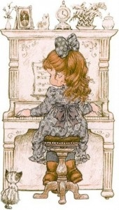 ...Sarah Kay... this one reminds me of kendy practicing the piano,,, hair dress and bow....