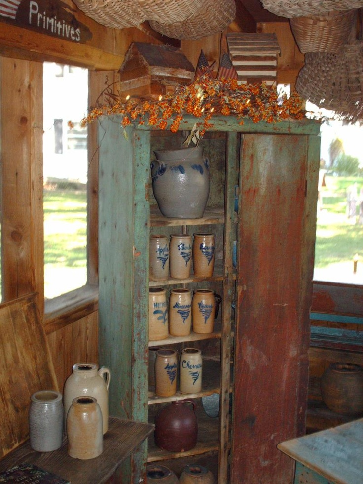 Green cabinet full of old crocks~Green Cabinets, Decor Cabinets, Blue Decor, Stoneware Crock, Cabin Kitchens, Chimney Cabinets, Logs Cabin, Antiques, Cabinets Full