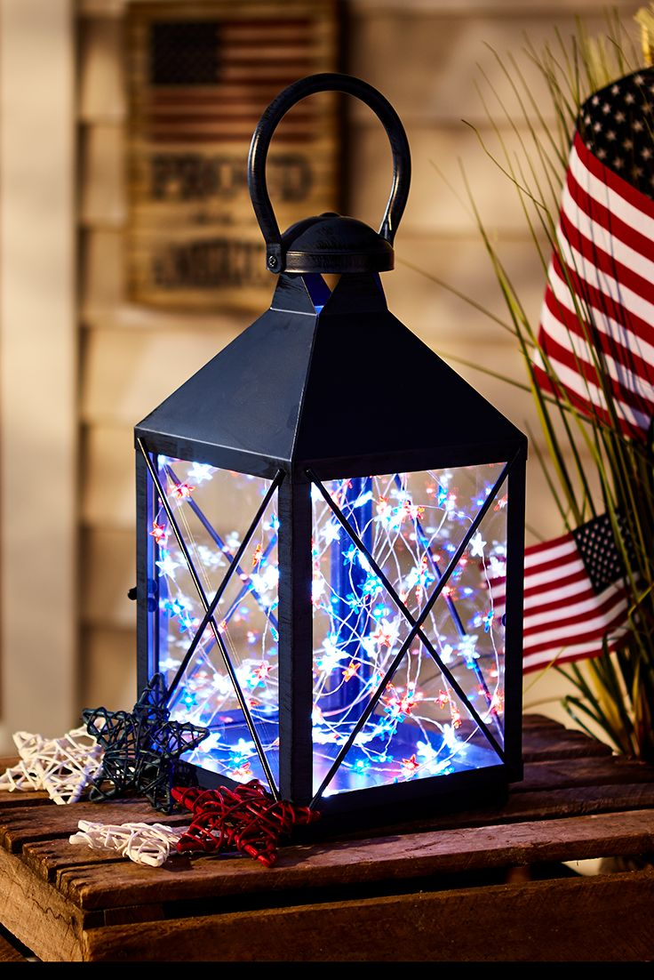 For a fabulous Fourth of July display, think small. Pier 1's 10-foot, battery-powered Americana Glimmer Strings® use tiny (some would say magical) LEDs the size of a grain of rice strung along shapable, thread-sized silver filament to create an almost weightless, firefly-like effect. Place these star-shaped lights in a traditional lantern to light up your patriotic party.