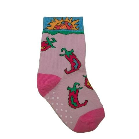 Toddler Sunny Chili Peppers Non-Skid Socks Fit 12 - 24 Months