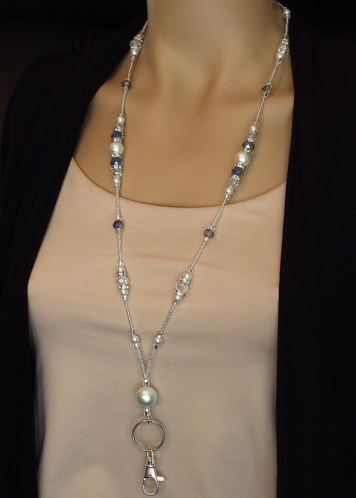 Rhinestones, Crystals & Pearl Beaded Lanyard, ID badge holder magnetic clasp, fancy lanyard, teacher gift, nurse lanyard, breakaway lanyard by PawtasticDesignsGems on Etsy https://www.etsy.com/listing