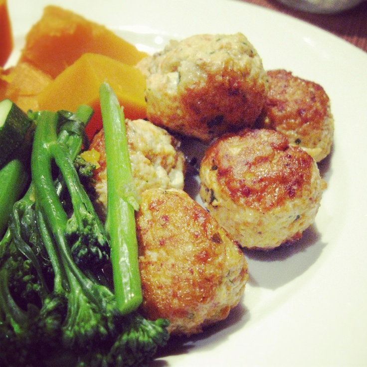 Coconut Curry Meatballs with steamed veg