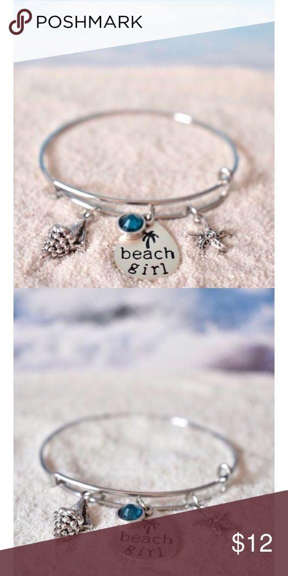 """""""BEACH GIRL""""  SILVER CHARM BRACELET One Size New! """"BEACH GIRL"""" silver-tone charm bracelet. One size. Adjusts to the size of your wrist. Jewelry Bracelets"""