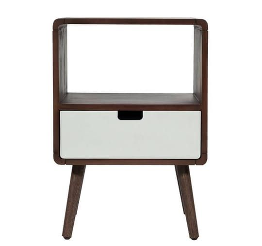 Drawer Midcentury Kids Nightstand | This kids' nightstand would look just as nice in an adult bedroom.  | http://www.apartmenttherapy.com #interiordesign #nightstandsideas #nightstand #masterbedroom #bedroom #homedecor