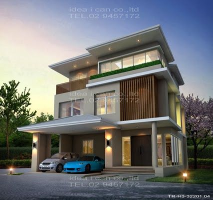 The three story home plans 3 bedrooms 4 bathrooms for Modern thai house design