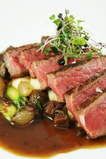 Prime CAB New York Strip, Saint Andres Triple Cream Potatoes, Hearty Ragout of Winter Vegetables and Braised Beef