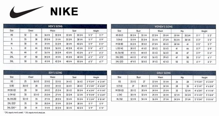 Clothing size chart template inspirational nike soccer