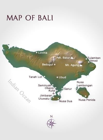 Map of Bali, Indonesia - Ubud; Panchoran Retreat.