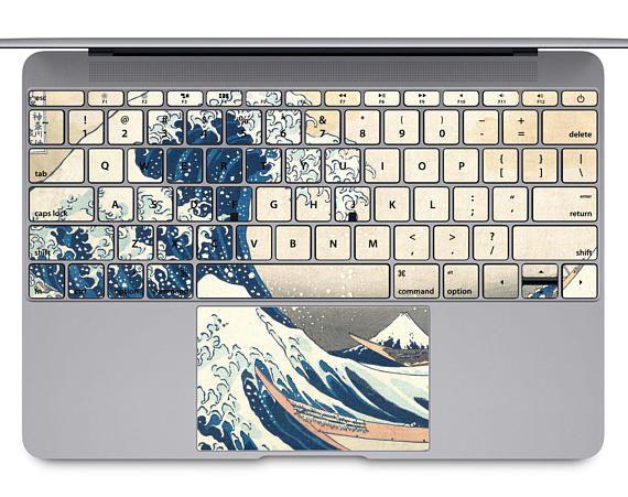 MacBook Decal keyboard sticker macbook sticker macbook air skin sticker macbook skin macbook keyboard sticker Pro Case wave Kanagawa KB048