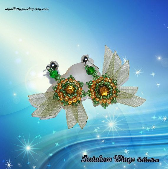 Green wings earrings stud earrings green by RoyalKittyJewelry