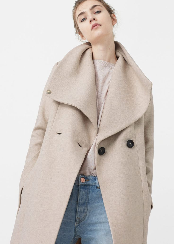 Manteau laine maxi revers   MANGO