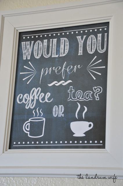 Coffee or Tea?  FREE 8x10 Chalkboard printable!  #coffee #tea #printable #chalkboard