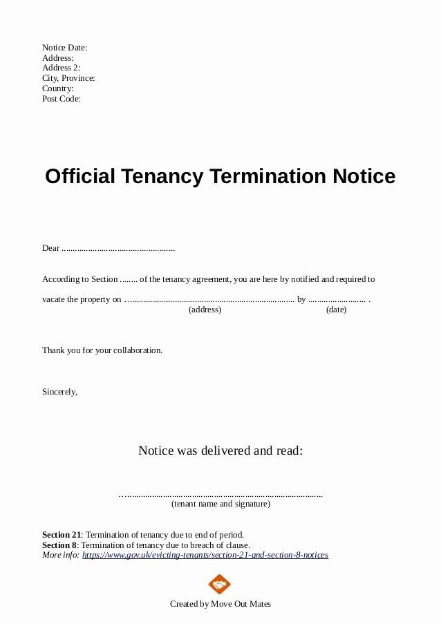 Landlord Lease Termination Letter Lovely End Of Tenancy Letter Template From Landlord To Tenant Being A Landlord Lettering Cover Letter Template Free