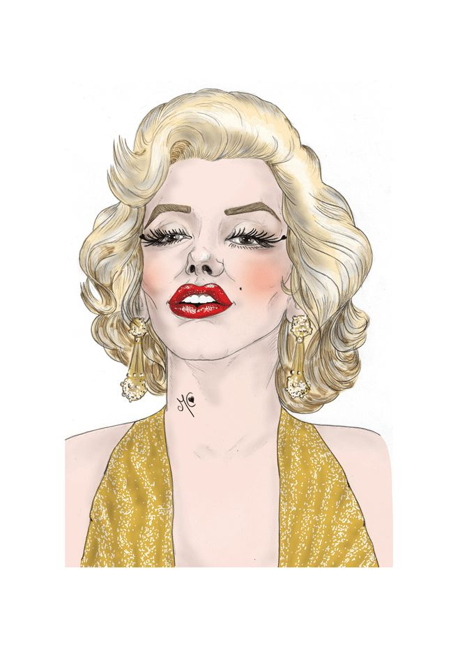 Illustration. Marilyn Monroe. Pencil on paper + digital painting. A3 size.