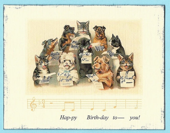 Birthday Ecards Dogs Singing ~ Dog and cat birthday card w the happy song by petscribbles greeting cards